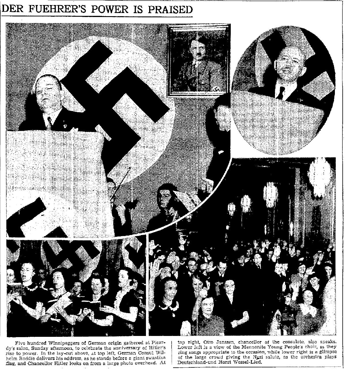 Mennonite Choir at Canadian Nazi Rally, Winnipeg Free Press, January 30, 1939 (1)