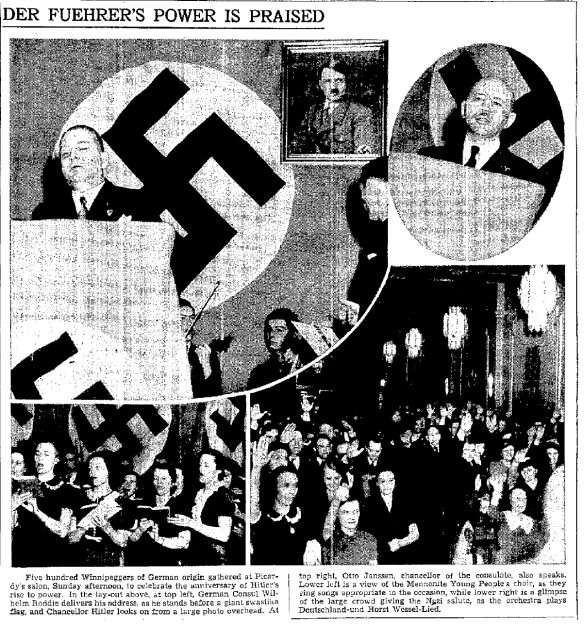 Mennonite Choir at Canadian Nazi Rally, Winnipeg Free Press, January 30, 1939 (1)