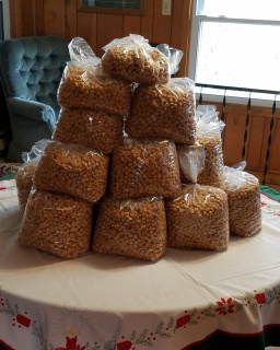 Bagged peppernuts ready for distribution. Image courtesy Tom Wedel.]