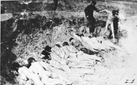 A naked prisoner is led to an execution site in the Stutthof concentration camp 2